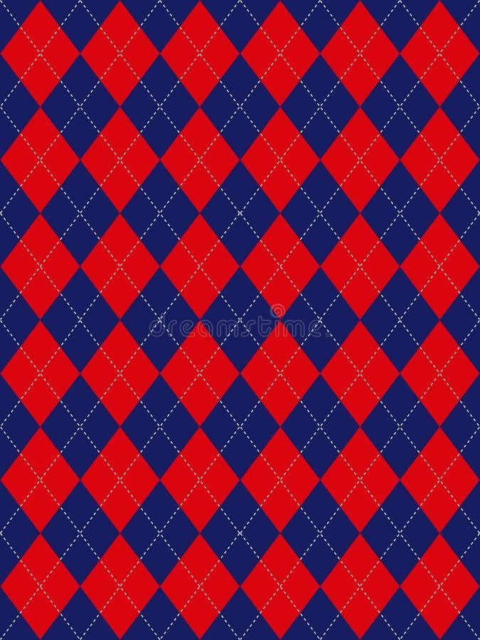 różnokolorowy wzór w robieniu na drutach niebieskiej czerwonym white royalty ilustracja