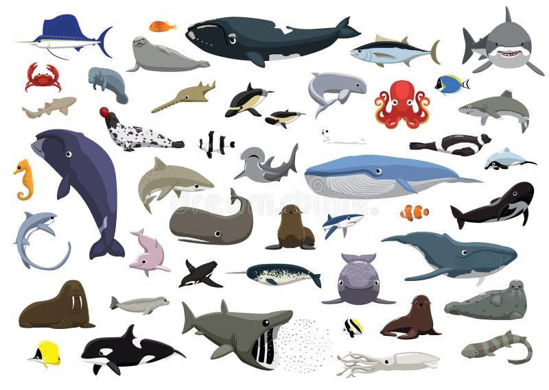 Różnorodna Śliczna Dennych zwierząt kreskówki wektoru ilustracja royalty ilustracja