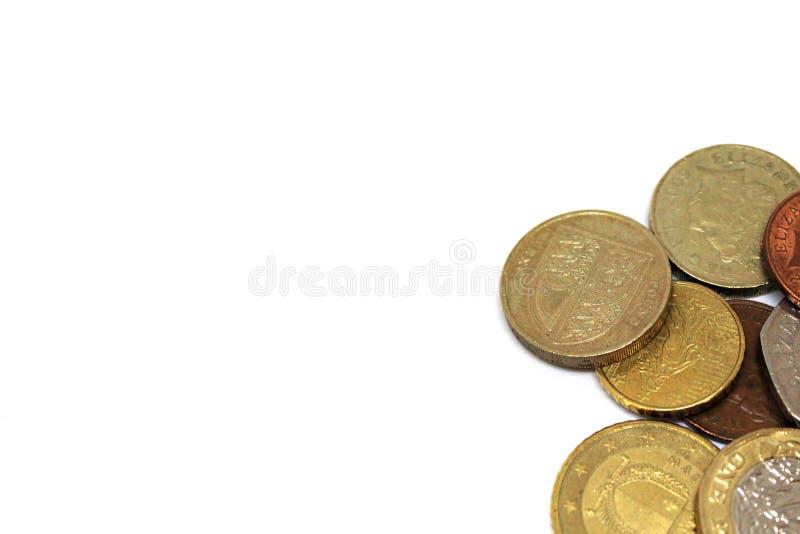 Różnorodna Europejska waluta z biel przestrzenią fotografia royalty free