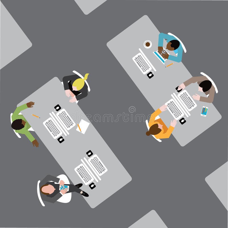 Różnorodna grupa biznesowi mężczyzna i kobiety w otwartej plan powierzchni biurowa ilustracji