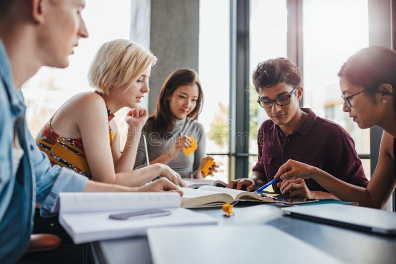Różnorodna grupa ucznie studiuje przy biblioteką zdjęcie stock