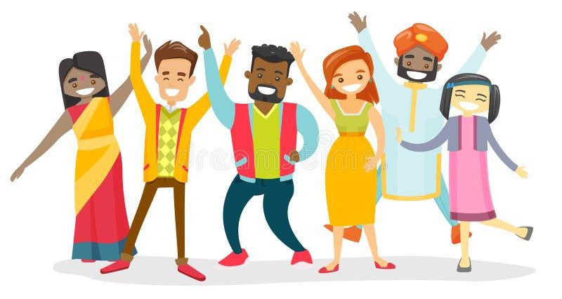 Różnorodna grupa wielokulturowi szczęśliwi uśmiechnięci ludzie royalty ilustracja