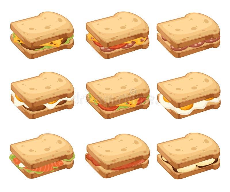 Różnorodna ikony kolekcja mięsa i warzywa kanapki chleb sk?adany 2 Słodki smakowity śniadanie lub fast food P?aski wektor ilustracja wektor