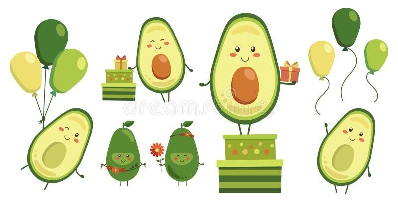 Różnorodna kolekcja wektorowi śliczni uśmiechnięci avocado bohaterzy odizolowywający na bielu Set owocowi charaktery z latającym  ilustracji