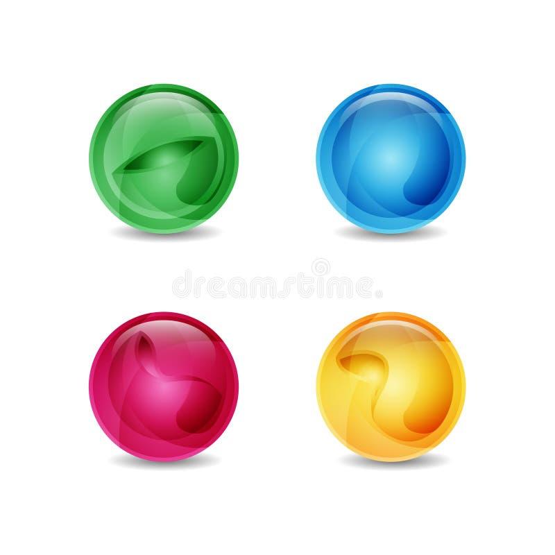 Różnorodna kolor ilustracja 3d Szklana piłka z shinny abstrakcjonistycznych tematy ilustracja wektor