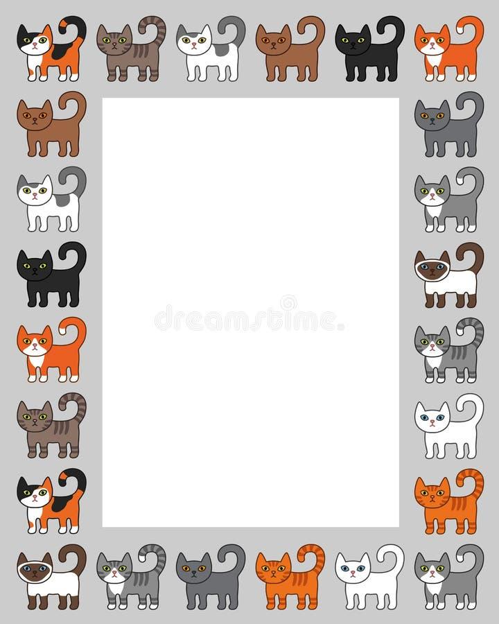 Różnorodna kot granicy rama Ślicznego i śmiesznego kreskówki kiciuni kota wektorowy ilustracyjny ustawiający z różnym kotem hoduj ilustracja wektor