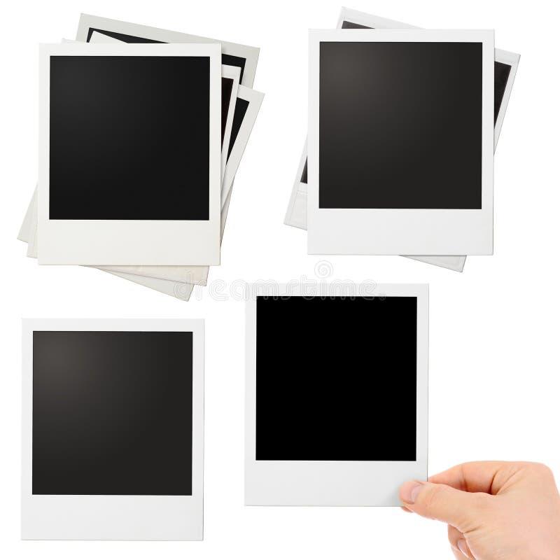 Różnorodna polaroid fotografia obramia set odizolowywającego obraz stock