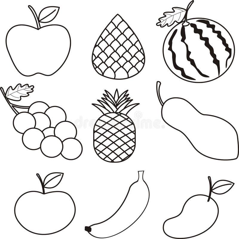 Różnorodna ręka rysująca tropikalnych owoc ilustracja ilustracji