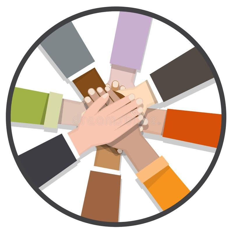 różnorodna ręka współpracuje wpólnie ilustracja wektor