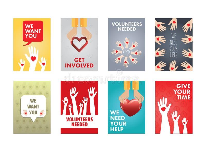 Różnorodna wektorowa ikona ustawiająca wolontariuszi royalty ilustracja