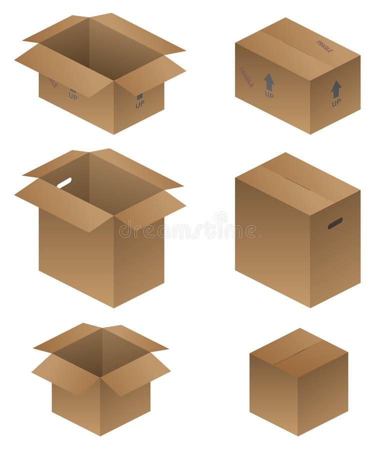 Różnorodna wysyłka, kocowanie i Ruszać się pudełko wektoru ilustrację, royalty ilustracja