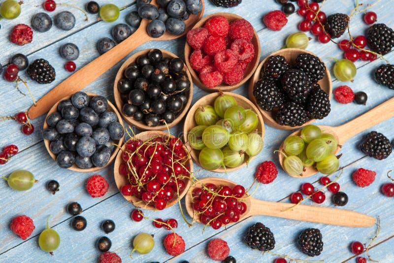 Różnorodne świeże lato jagody Odgórny widok Jagody mieszanki owocowego koloru karmowe deserowe jagody Przeciwutleniacze, detox di zdjęcie royalty free