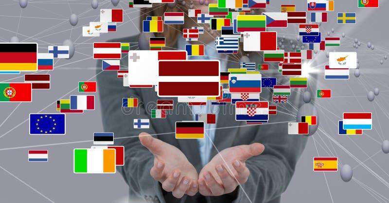 Różnorodne flaga nad rękami zdjęcie stock
