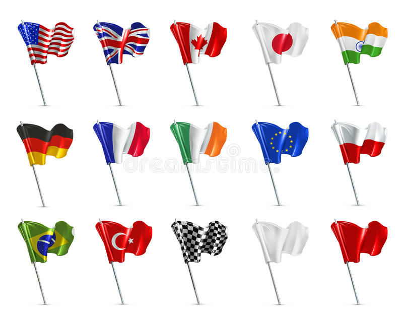 Różnorodne flaga, wektorowy ikona set ilustracja wektor