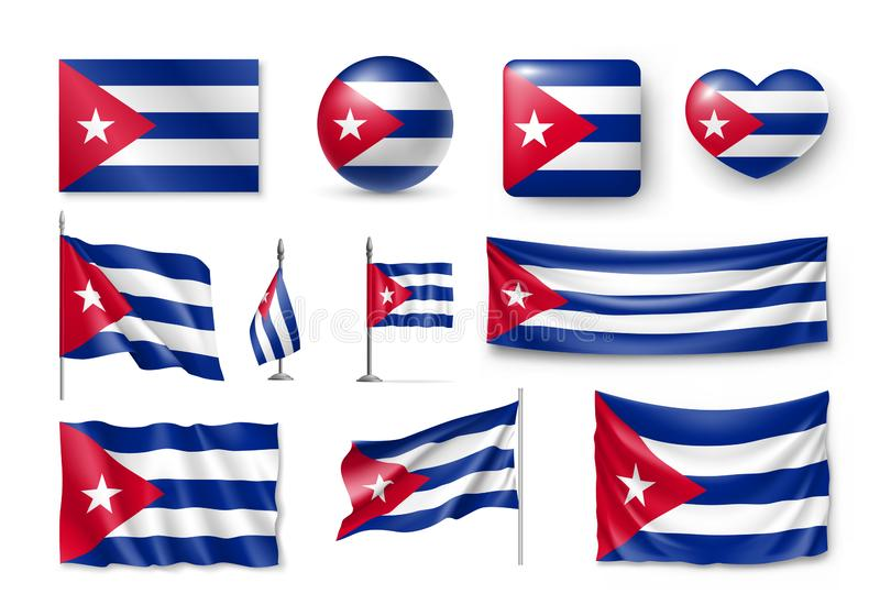 Różnorodne flagi Kuba bezpartyjnika kraj ilustracja wektor