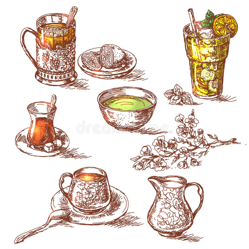 Różnorodne herbaty Ustawiać ilustracji