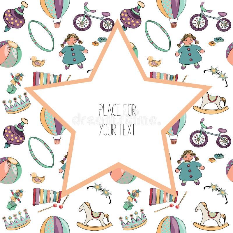 Różnorodne kolorowe zabawki dla dzieciaków bezszwowy wzoru Z dużą gwiazdą z plave fot tekstem tła ilustracyjny rekinu wektoru bie ilustracji