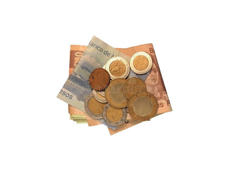Różnorodne meksykanin monety na górze niektóre peso rachunków 100, 200, 500 i grupujący odosobniony na białym tle składający, obraz stock