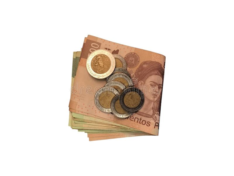 Różnorodne meksykanin monety na górze niektóre peso rachunków 100, 200, 500 i grupujący odosobniony na białym tle składający, obrazy royalty free
