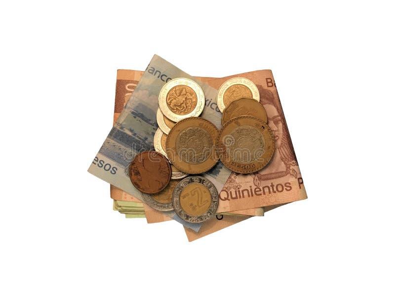 Różnorodne meksykanin monety na górze niektóre peso rachunków 100, 200, 500 i grupujący odosobniony na białym tle składający, zdjęcia stock