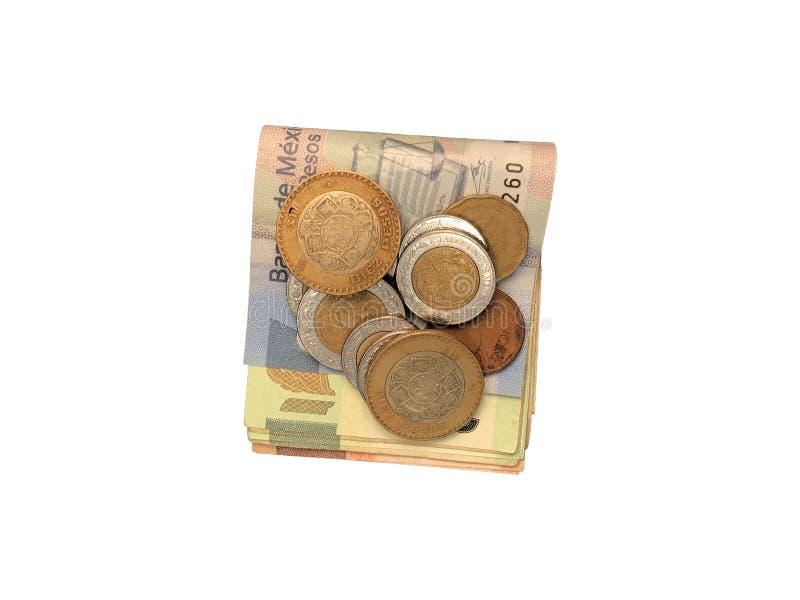 Różnorodne meksykanin monety na górze niektóre peso rachunków 100, 200, 500 i grupujący odosobniony na białym tle składający, zdjęcie royalty free
