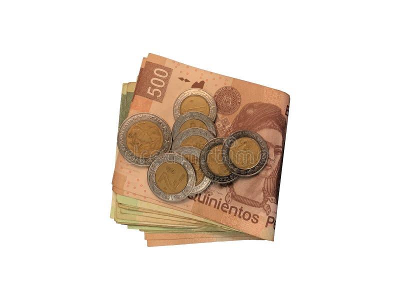 Różnorodne meksykanin monety na górze niektóre peso rachunków 100, 200, 500 i grupujący odosobniony na białym tle składający, zdjęcia royalty free