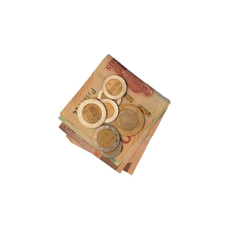 Różnorodne meksykanin monety na górze niektóre peso rachunków 100, 200 i 500 składający i grupujący na białym tle, zdjęcia royalty free