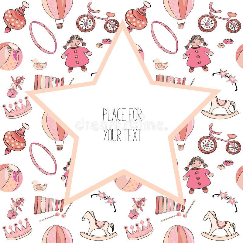 Różnorodne menchii i czerwieni zabawki dla dzieciaków bezszwowy wzoru Z dużą gwiazdą z miejscem dla teksta tła ilustracyjny rekin royalty ilustracja