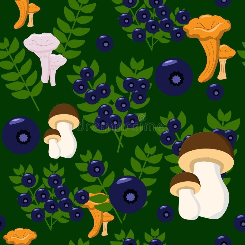 Różnorodne pieczarki i czarne jagody w lasowym niekończący się wzorze royalty ilustracja
