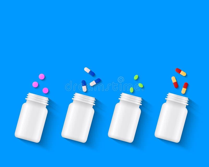 Różnorodne pigułki, pastylki i kapsuły z białymi butelkami na błękitnym tle, ilustracji