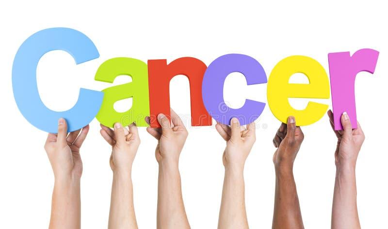 Różnorodne ręki Trzyma słowo nowotwór zdjęcie royalty free