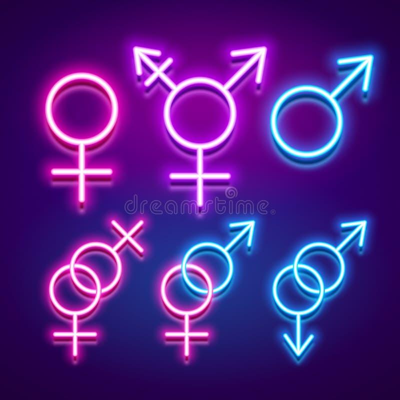 Różnorodne rodzaj tożsamość i płciowość, neonowe rozjarzone ikony, v ilustracja wektor