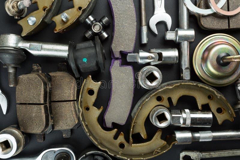 Różnorodne Samochodowe części i narzędzia zdjęcia stock