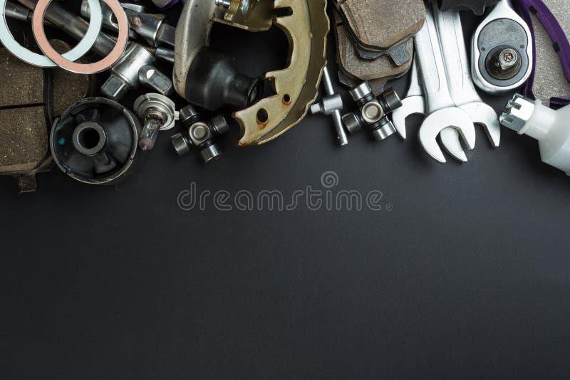 Różnorodne Samochodowe części i narzędzia fotografia royalty free