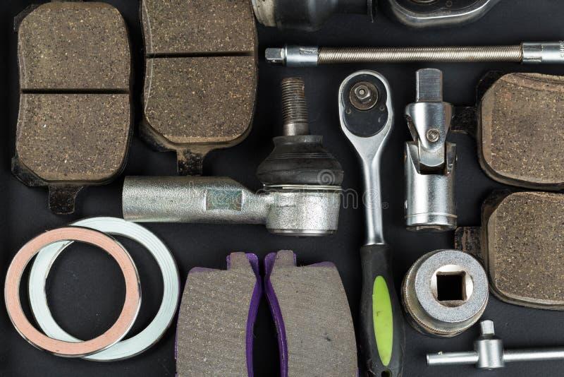 Różnorodne Samochodowe części i narzędzia obraz stock