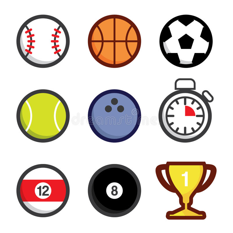 Różnorodne sport ikony ilustracja wektor