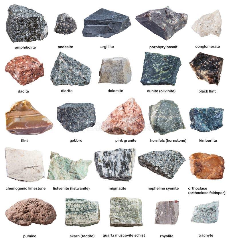 Różnorodne surowe skały z imionami odizolowywającymi na bielu obrazy royalty free
