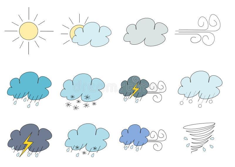 Różnorodne symplicystyczne pogodowe ilustracje ilustracji