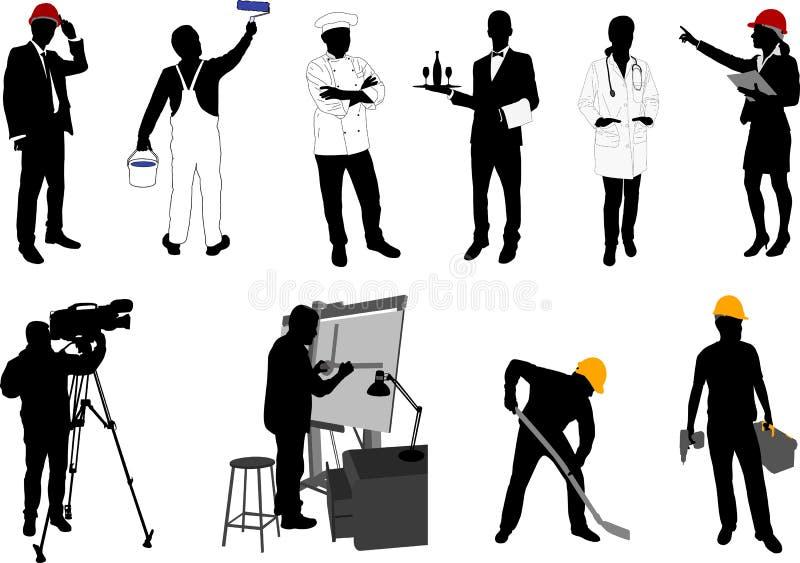 Różnorodne zajęcie sylwetki inkasowe ilustracja wektor