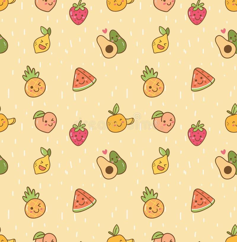 Różnorodnego kawaii owocowy bezszwowy wzór ilustracji