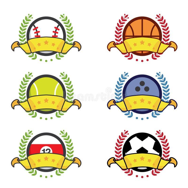 Różnorodnej sport ikony wygrane odznaki ilustracja wektor