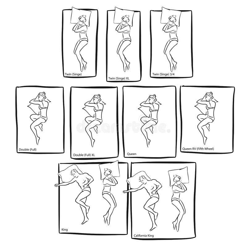 Różnorodni Łóżkowi rozmiary z ludźmi spać ilustracja wektor
