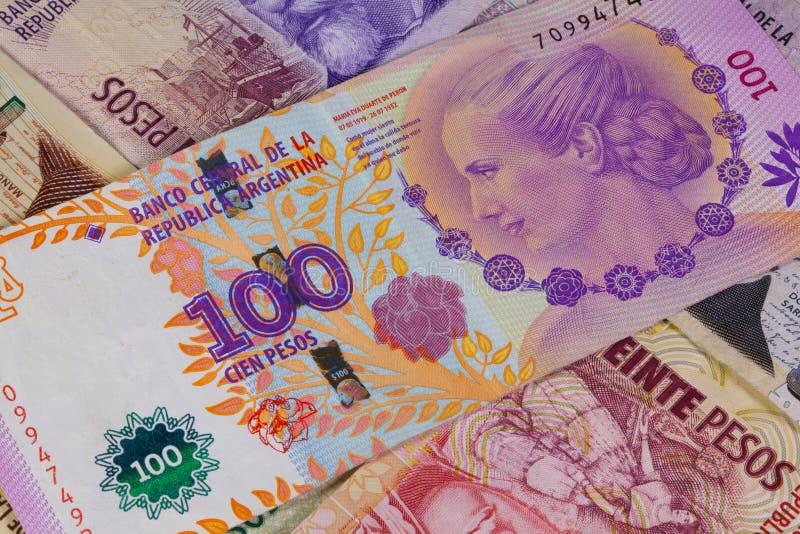 Różnorodni banknoty od Argentyna obrazy stock