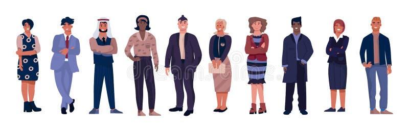 Różnorodni biznesowi charaktery Urzędnicy z równymi możliwościami, wielokulturowa profesjonalista drużyna Wektor korporacyjny royalty ilustracja