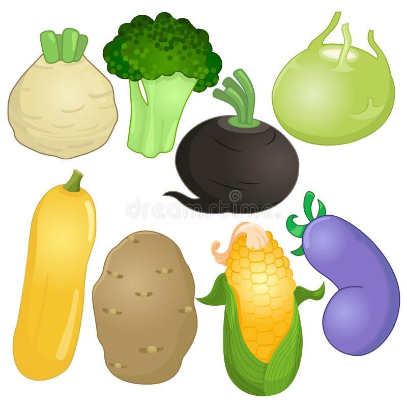 Różnorodni cali warzywa w kreskówka stylu royalty ilustracja