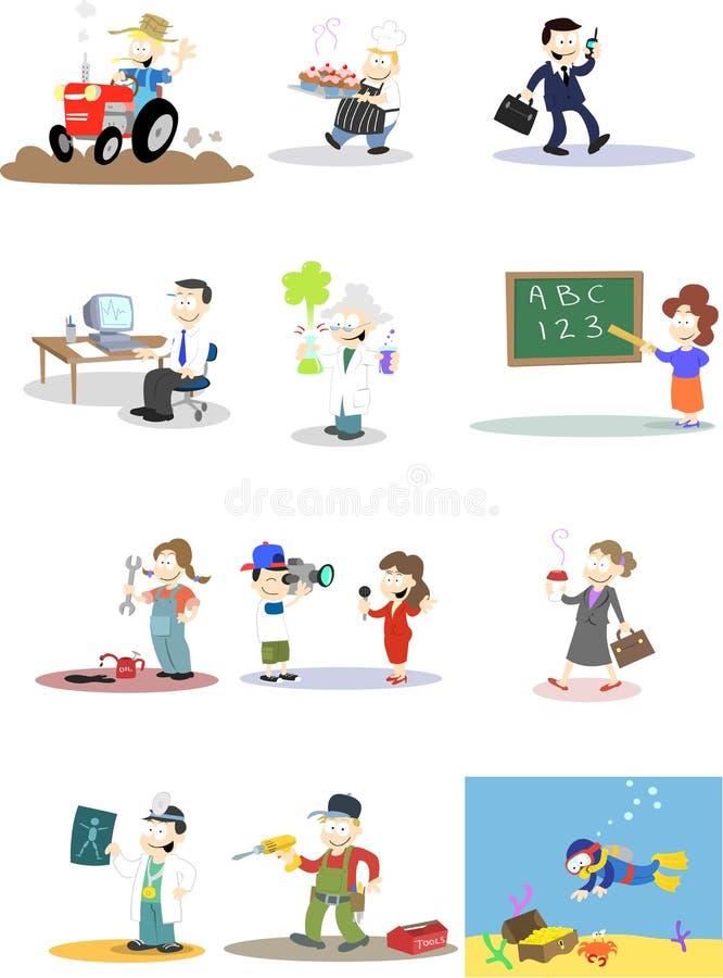 różnorodni charakterów zawody royalty ilustracja