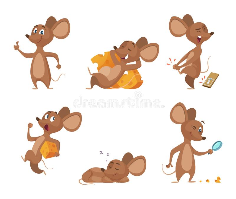 Różnorodni charaktery myszy w akcj pozach royalty ilustracja
