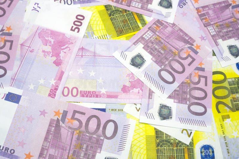 Różnorodni Euro banknoty 200 i 500 Euro banknotów Różna tekstura obraz royalty free
