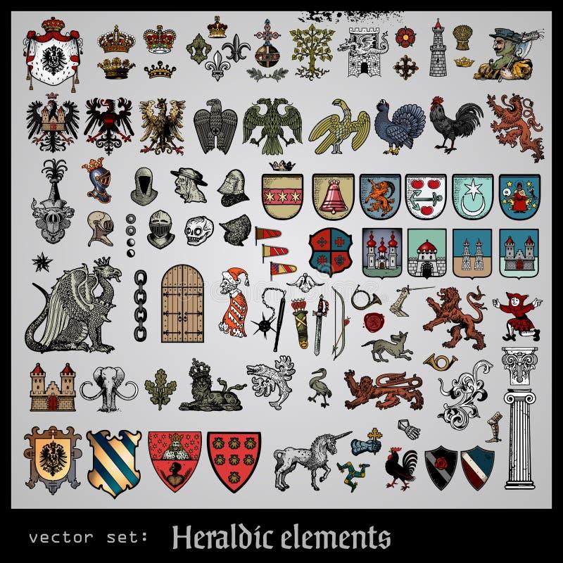 Różnorodni heraldyczni elementy royalty ilustracja