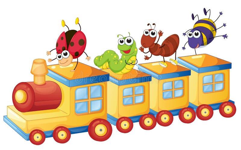 Różnorodni insekty na pociągu royalty ilustracja